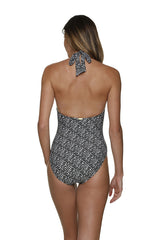 TWIST FRONT ONE-PIECE-SUNSET KEY-BLACK