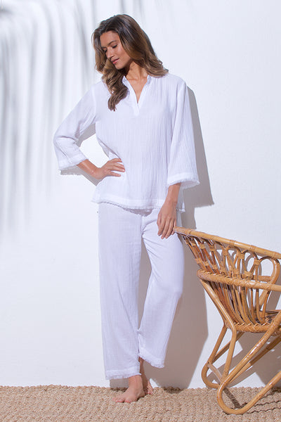 BEACHCOMBER ANKLE PANT-WHITE