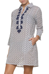 ESSENTIAL SHIRT DRESS-NAVY WHITE