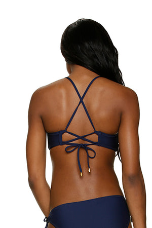 LACE BACK BRALETTE-NAVY