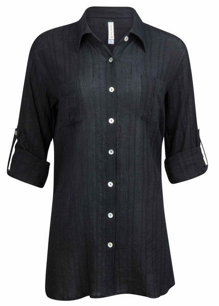 RELAXED SHIRT DRESS-BLACK