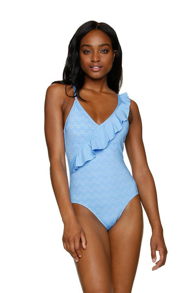 DRAPER JAMES ❤️HELEN JON RUFFLE FRONT ONE-PIECE - DERBY EYELET