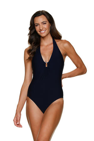 PLUNGE TORTOISE ONE-PIECE- BLACK