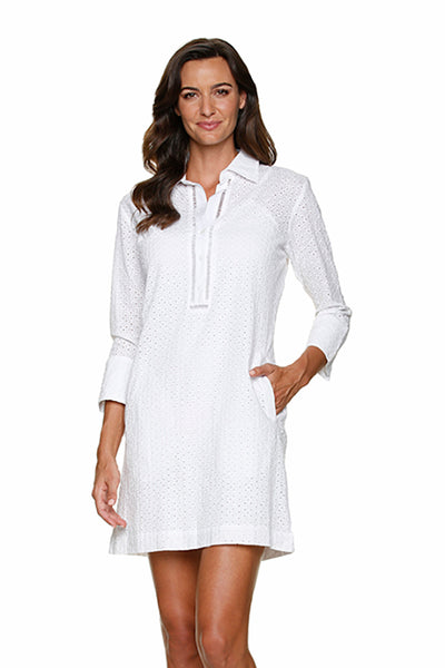 DRAPER JAMES ❤️HELEN JON LEXINGTON SHIRT DRESS - WHITE