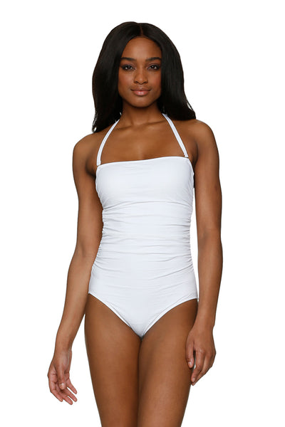 CLASSIC BANDEAU ONE-PIECE-TEXTURED WHITE