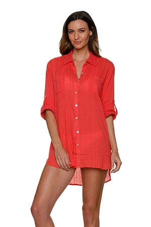 RELAXED SHIRT DRESS-CORAL