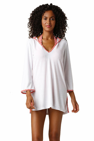 HOODED TERRY COVER-UP-CALYPSO CORAL