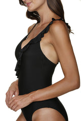 RUFFLE FRONT ONE-PIECE - BLACK