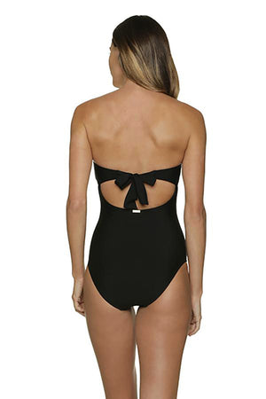 TWIST BANDEAU ONE-PIECE-BLACK
