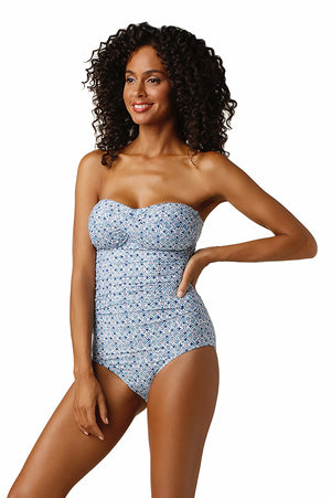 TWIST BANDEAU ONE-PIECE-HERITAGE TILE