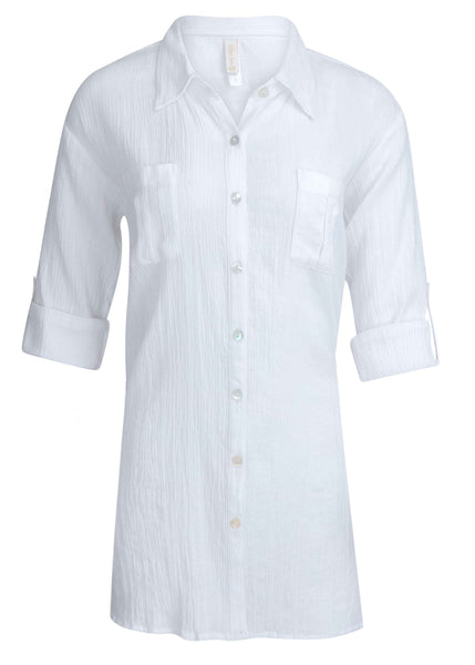 RELAXED SHIRT DRESS-WHITE