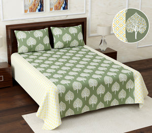 Superbghar 115 TC Cotton Double Printed Bedsheet With Pillow Cover