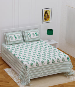 Superbghar 120 TC Cotton Double Printed Bedsheet With Pillow Cover