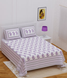 Superbghar 120TC Cotton Double Printed Bedsheet With Pillow Cover