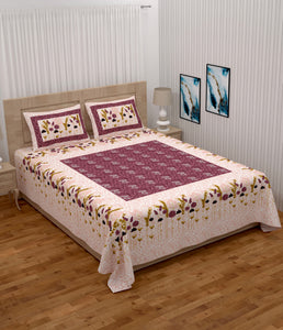 Superbghar 104 TC Cotton Double Printed Bedsheet With Pillow Cover