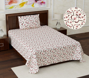 Superb Ghar 113 TC Cotton Single Printed Bedsheet With Pillow Cover  (Pack of 1)