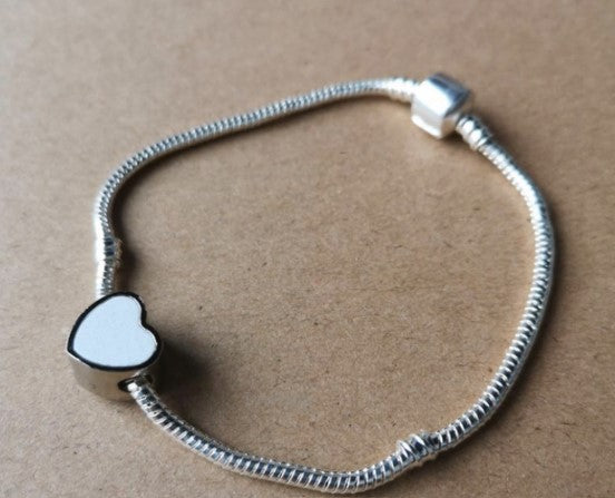 Pandora style bracelet with heart charm