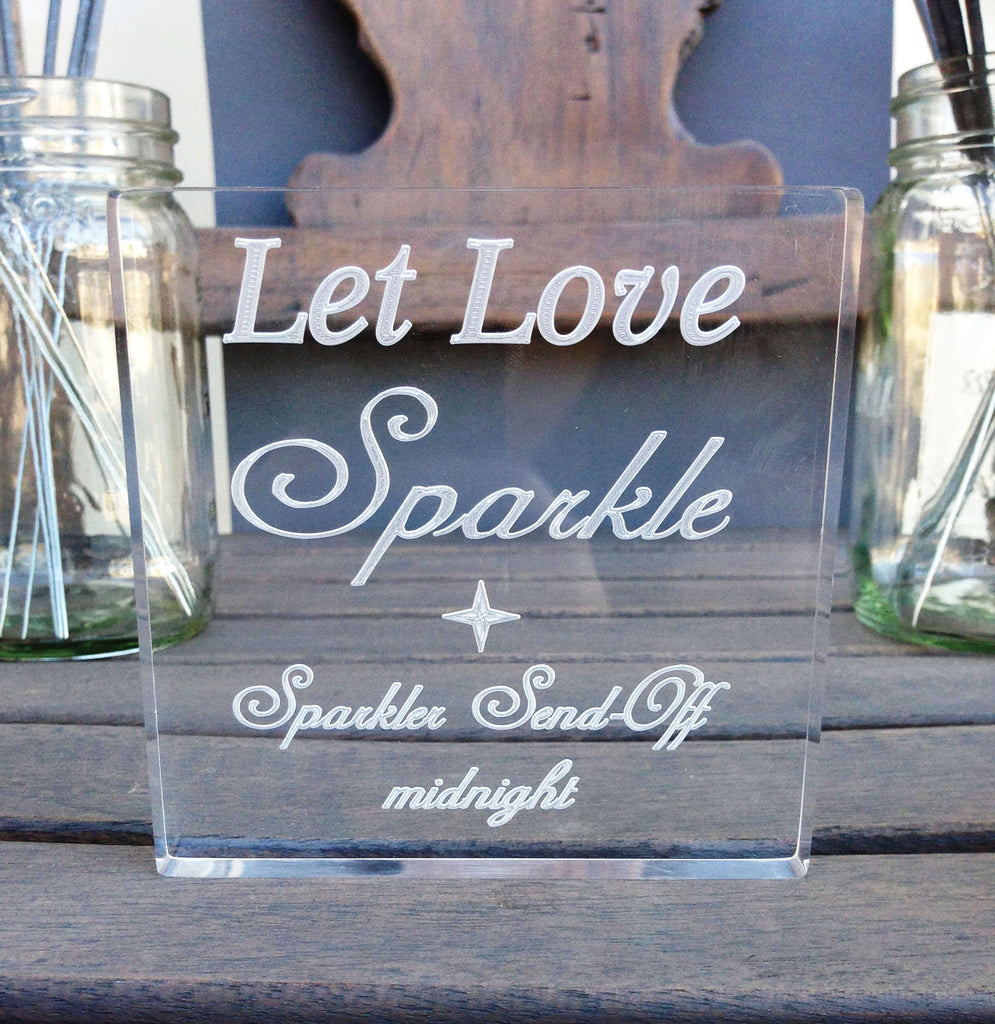 Let Love Sparkle Sparkler Sign - Personalized