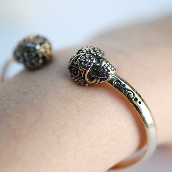 Load image into Gallery viewer, Day Of The Dead Sugar Skull Cuff Bracelet - Bronze