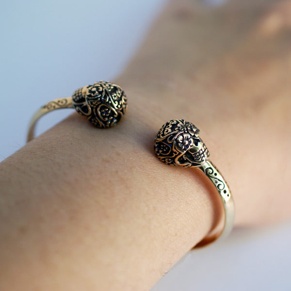 Day Of The Dead Sugar Skull Cuff Bracelet - Bronze