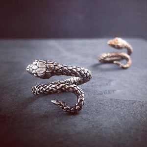Snake Wrap Ring - Antique Silver or Bronze