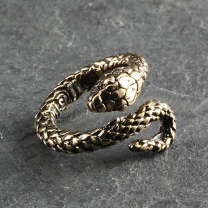 Load image into Gallery viewer, Snake Wrap Ring - Antique Silver or Bronze