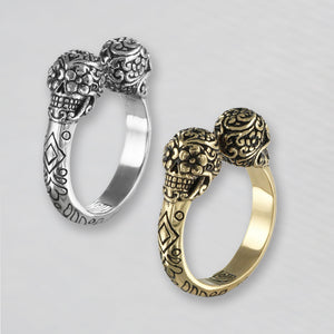 Day of the Dead Twin Skull Ring - Antiqued Silver or Bronze
