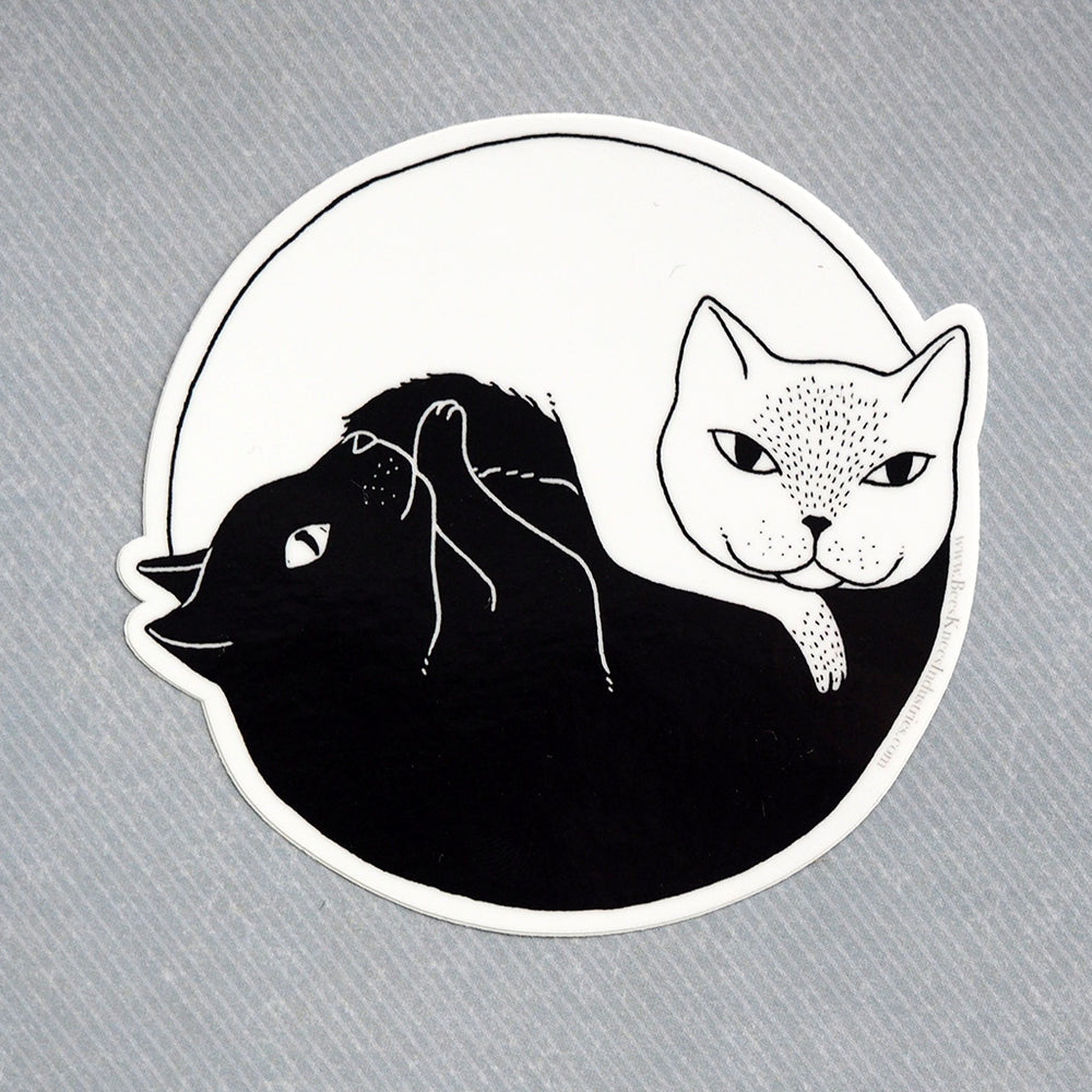 Yin And Yang Cats - Vinyl Sticker