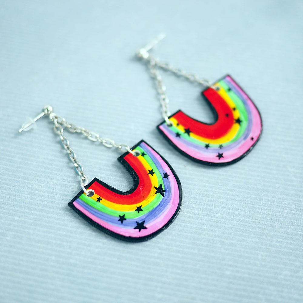 Load image into Gallery viewer, Rainbows & Stars Drop Earrings