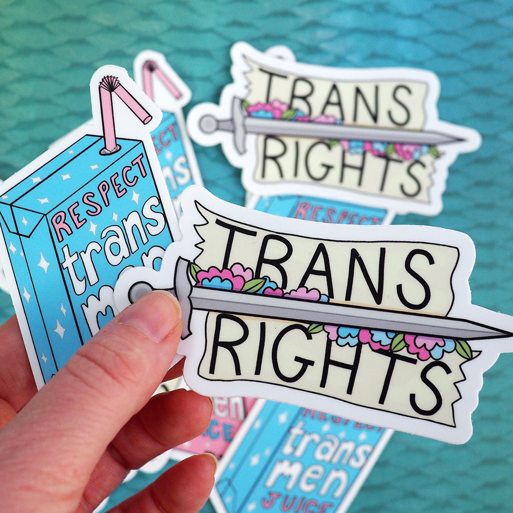 Load image into Gallery viewer, 'Respect Trans Women' Juice / 'Respect Trans Men' Juice Vinyl Sticker