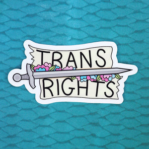 Load image into Gallery viewer, Trans Rights Sword & Flower Vinyl Sticker