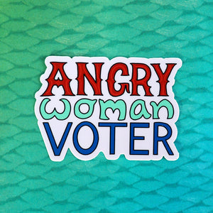 Angry Woman Voter Sticker