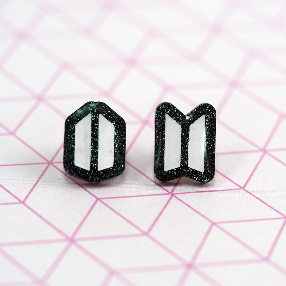 BTS x ARMY Logo Stud Earrings - Black Glitter