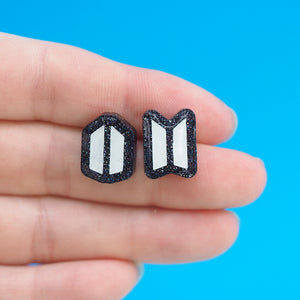 Load image into Gallery viewer, BTS x ARMY Logo Stud Earrings - Black Glitter