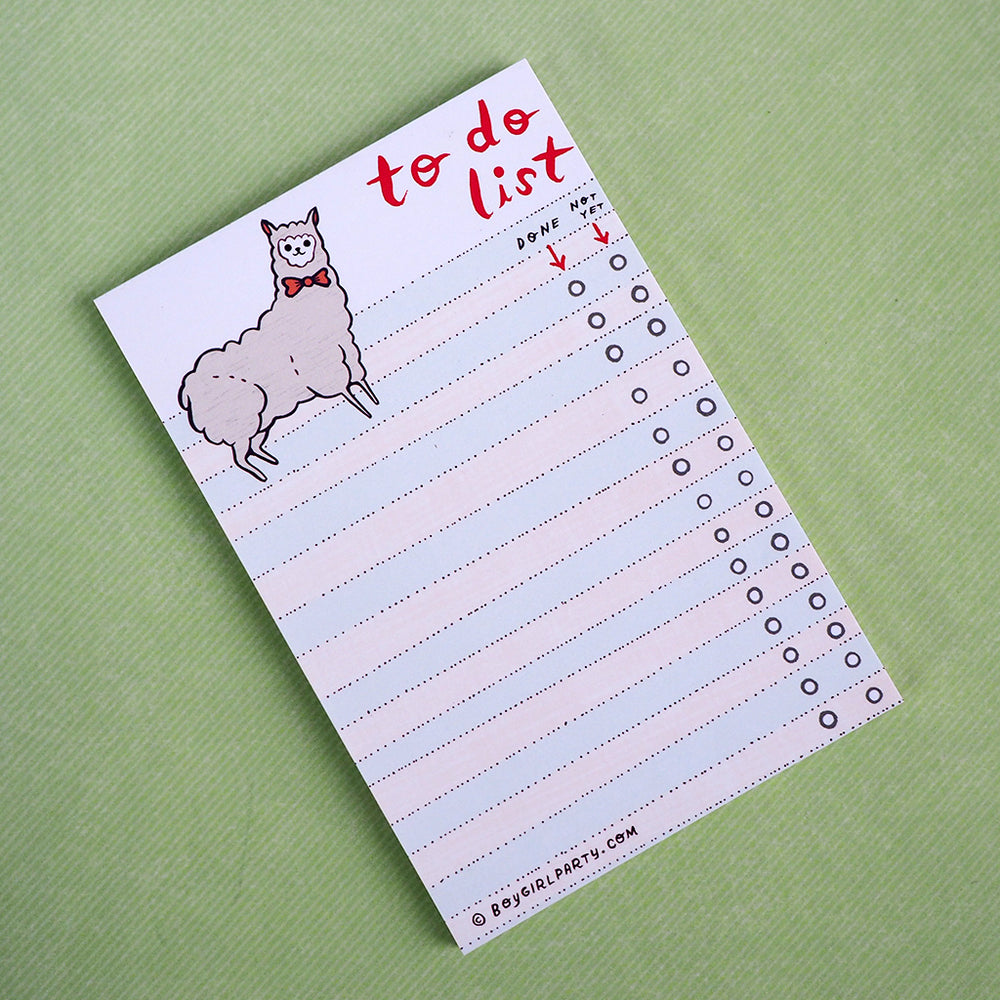 Llama To Do List Notepad