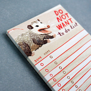 Opossum 'Do Not Want' To Do List Notepad