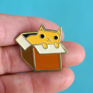 Cat In A Box Enamel Pin