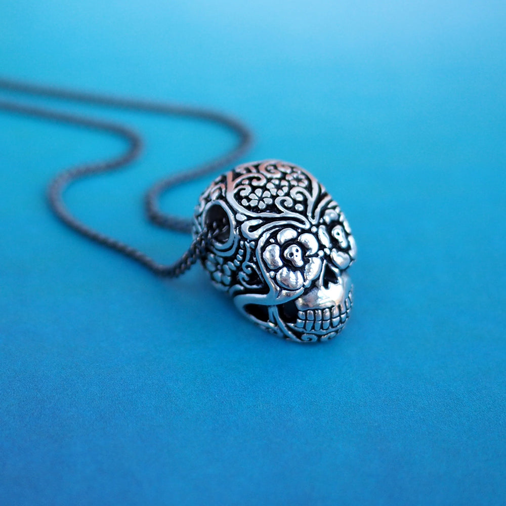 Day of the Dead Sugar Skull Necklace - Silver