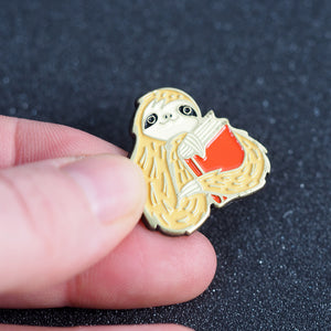 Load image into Gallery viewer, Sloth Book Metal Enamel Pin