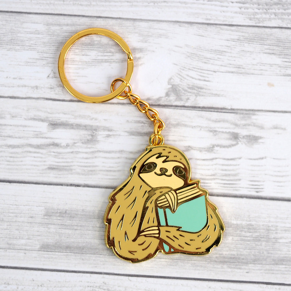 Sloth Book Keychain