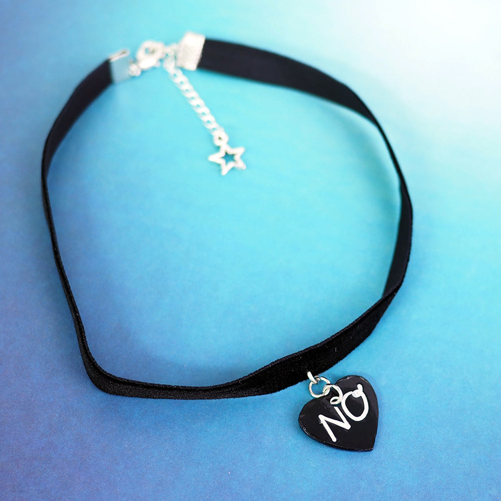 """NO"" Heart Choker Necklace"