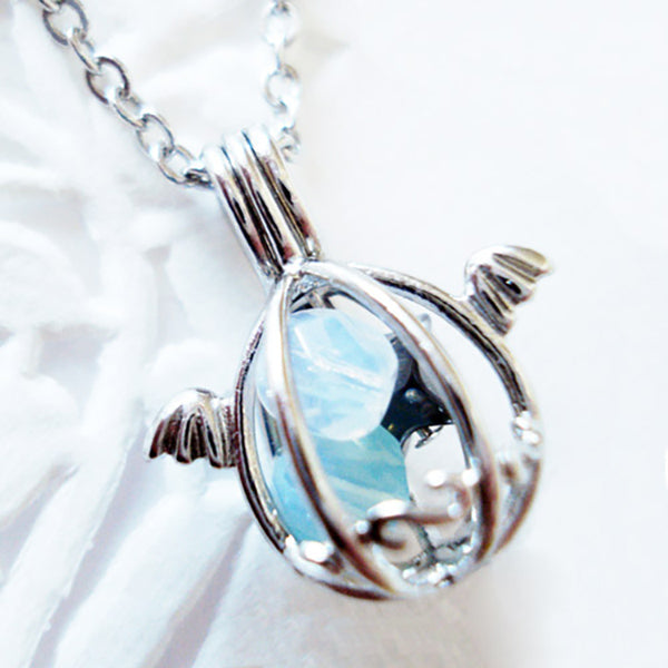 Silver Angel's Egg Necklace