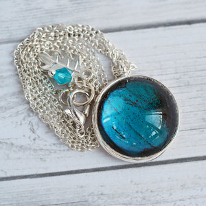 Butterfly Wing Pendant Necklace - Blue Morpho