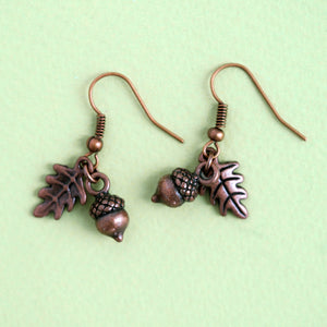 Woodland Acorn Earrings - Bronze