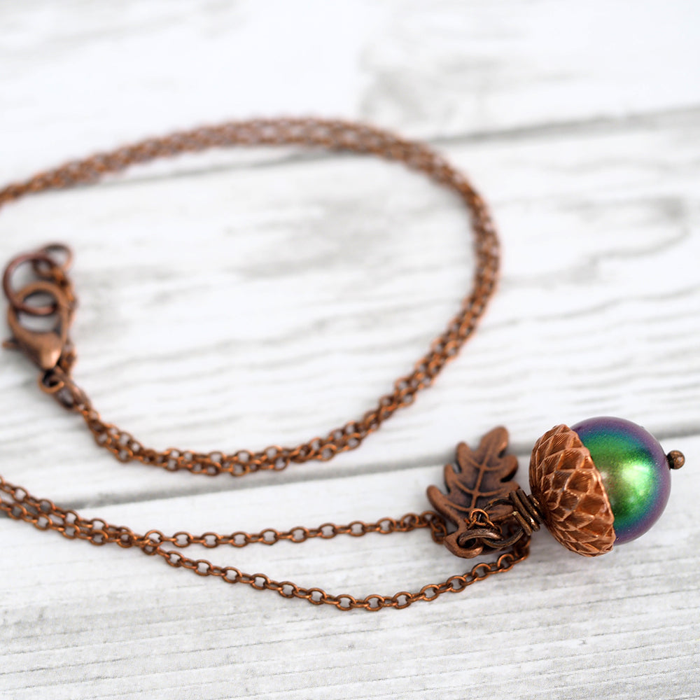 Magic Acorn Necklace - Copper Aurora Borealis