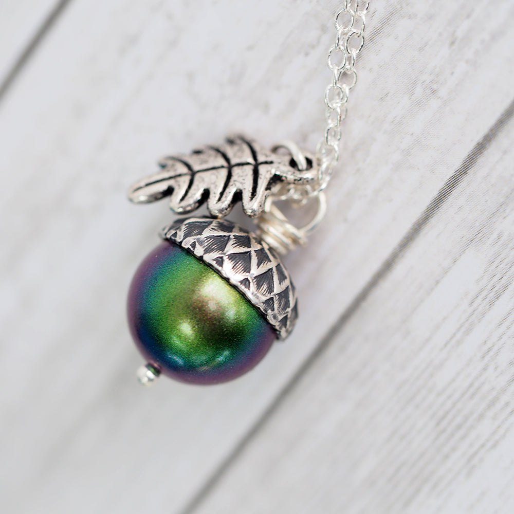 Magic Acorn Necklace - Silver Aurora Borealis