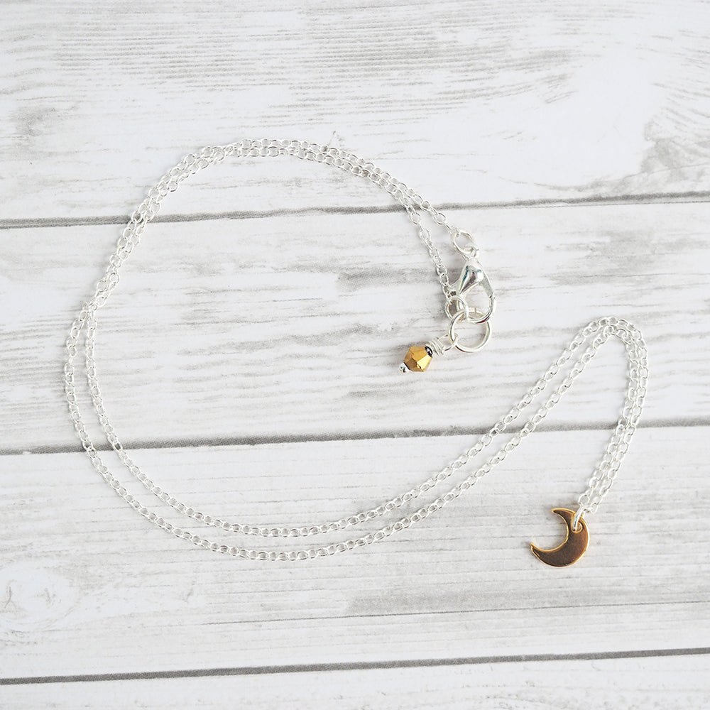Tiny Golden Moon Necklace