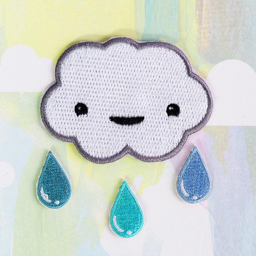Happy Cloud with Raindrops Iron-on Patch Kit