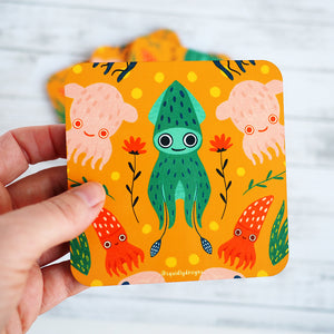Load image into Gallery viewer, Cephalopod Squiddy Coaster Set - Orange