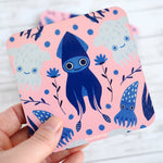 Cephalopod Squiddy Coaster Set - Pink & Blue